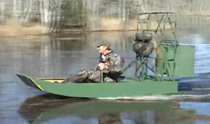single seat mini airboat in action